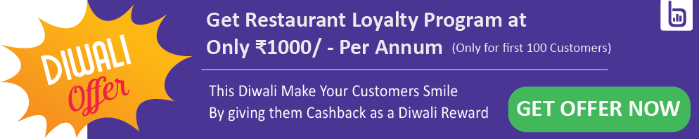 Diwali discount on restaurant loyalty program and cashback rewards program