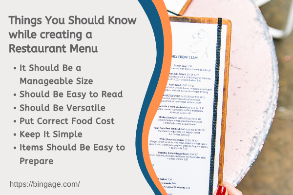 tips for designing restaurant menu