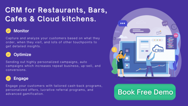 Cloud based CRM for restaurants, cafes, bars & cloud kitchen.